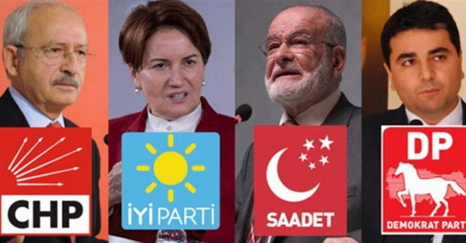 Muhalefet dörtlü ittifakı ilan etti