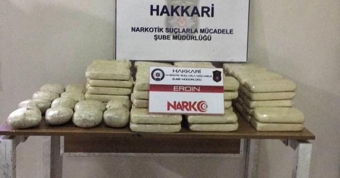 Yüksekova'da 58 kilo 5 gram eroin ele geçirildi