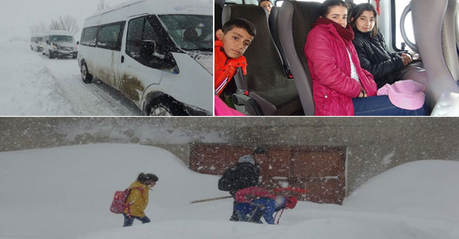 Yüksekova'da öğrenciler yolda mahsur kaldılar