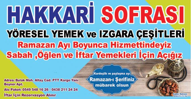 Hakkari Sofrası ramazanda da hizmet verecek!