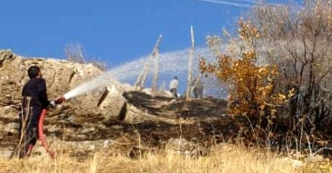 Hakkari Kırıkdağ mezarlığında yangın çıktı