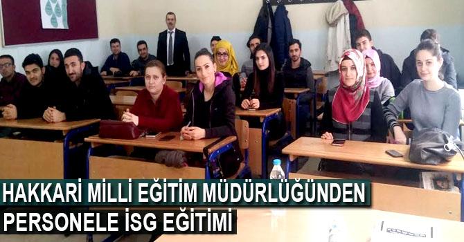 Hakkari Milli Eğitim Müdürlüğünden personele İSG eğitimi