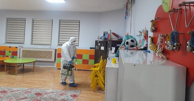 Hakkari'deki anaokulu dezenfekte edildi