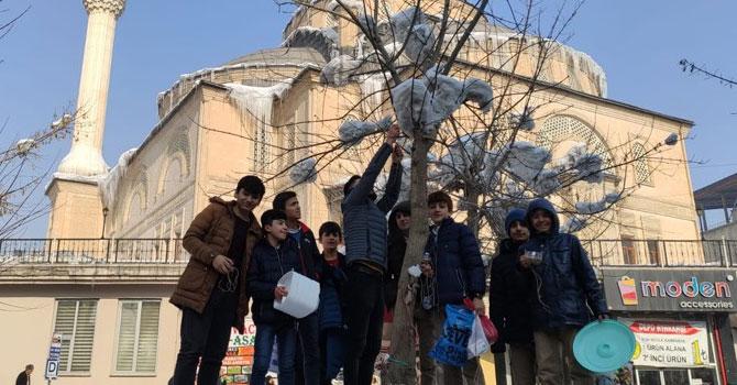 Yüksekovalı öğrenciler kuşlar için yemlik yaptı