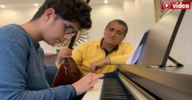 Hakkarili Sanatçı Aydın Aydın, ve görme engelli oğlundan sağlıkçılara türkü