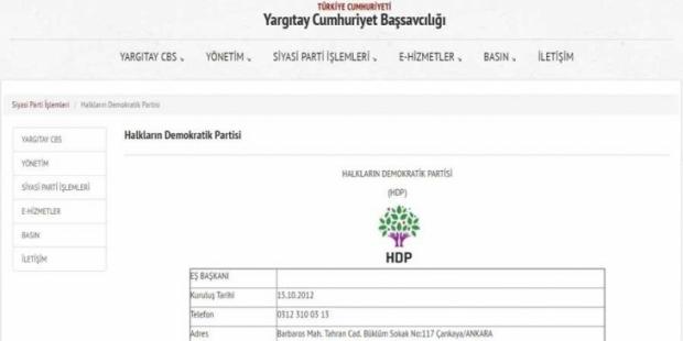 Yargıtay, internet sitesinde HDP eş genel başkanlarını tanımıyor!