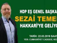 Temelli'nin katılacağı HDP'nin Hakkari Mitingi yarın