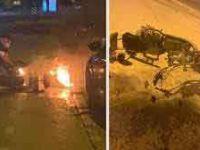 Elektrikli bisikletin yedek bataryası patlayarak yandı