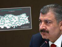 Türkiye'nin yeni vaka sayısı haritası açıklandı